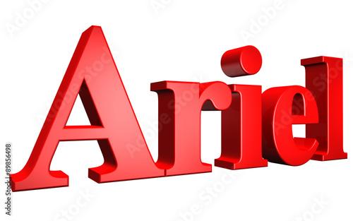 Fotografia 3D Ariel text on white background