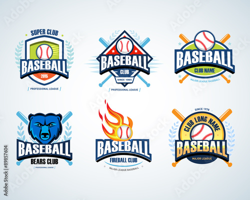 Baseball Sport Badge Logo Set Design Template And Some Elements For Logos
