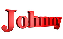 3D Johnny Text On White Background