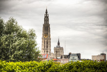 The Cathedral Of Antwerp, Belgium Seen From Behind The Trees