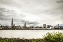 The Skyline Of Antwerp, Belgium With The Schelde River Seen From Linkeroever
