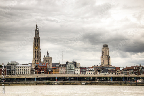 The skyline of Antwerp, Belgium with the Schelde river seen from Linkeroever