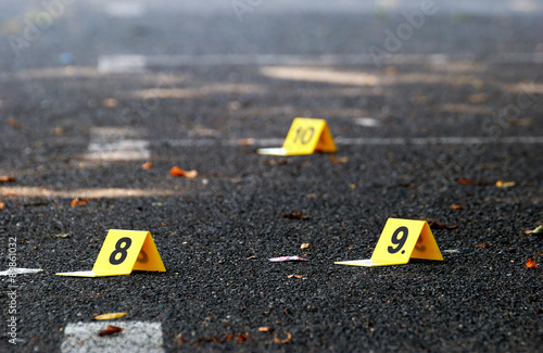 Photo Crime Evidence Markers on Asphalt