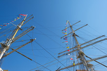 Masts Of A Tall Ship In The Ha...