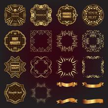 Set Of Vintage Gold Design Elements-labels, Frames, Ribbons.