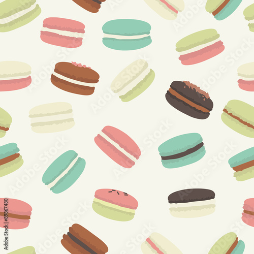 Photographie  Seamless pattern with colorful macaroon. Vector illustration.