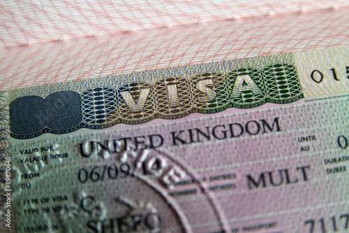 Fotografie, Obraz  United Kingdom visa in passport
