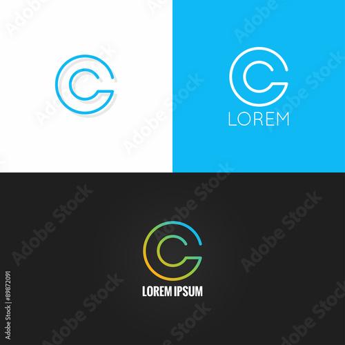 letter C logo alphabet design icon set background