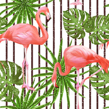 Seamless Pattern With Flamingo Birds And Palm Leaves