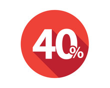 40 Percent Discount Sale Red Circle