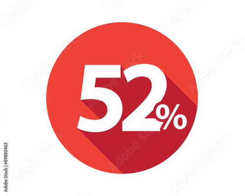 Photo  52 percent  discount sale red circle
