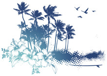 Summer Scene With Palms And Hibiscus