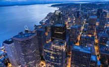 Downtown Seattle Skyline At Ni...