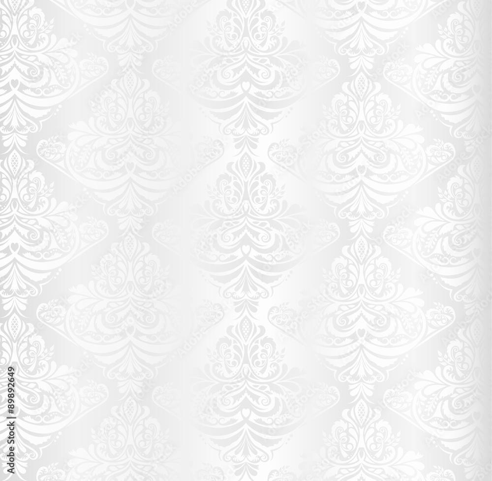 Wedding white damask pattern with vintage floral ornament
