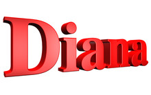 3D Diana Text On White Background