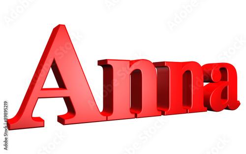 фотография  3D Anna text on white background