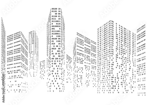 Fotografía  Binary code in form of futuristic city skyline