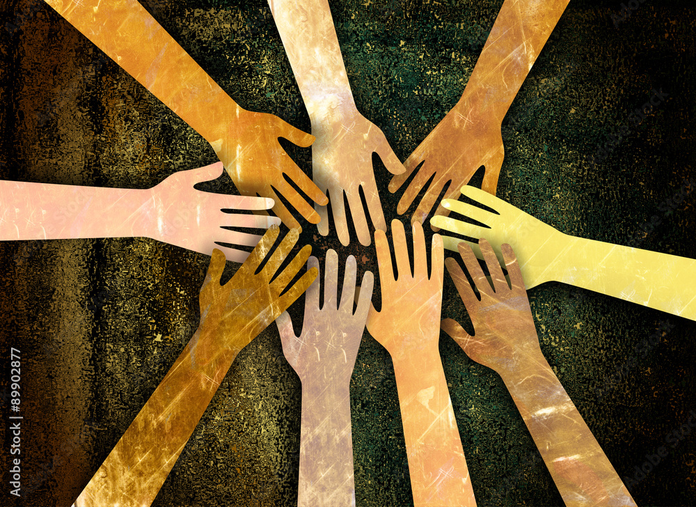 Fototapeta A grunge textured digital illustration of a group of diverse hands reaching together in unity and support.