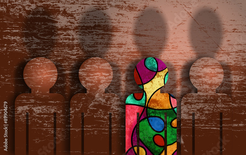 A grunge textured digital illustration of a group of people blending in with the background, whilst one person dares to be different and stand out.