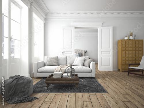 Fotografie, Obraz  wohnzimmer und schlafzimmer in einer altbau wohnung