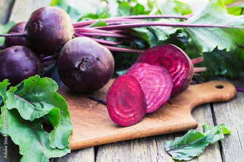 Fototapeta  Fresh beet on wooden background