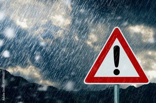 Deurstickers Onweer Caution - Bad Weather