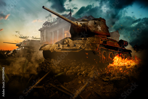 Two tanks destroyed in the area Poster