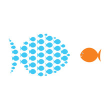 Group Of Small Fish United With Big Fish Concept Design Vector