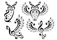 Music Bird And Owl, Vector Set