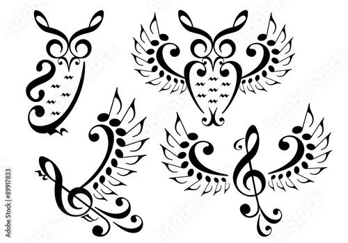 Photo  music bird and owl, vector set