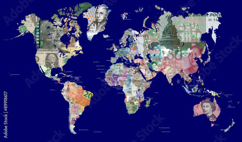 Fototapeta Detailed map of the world in all the world's currencies Each country is represented with one of its most recently issued banknotes Full resolution file is about 30MP in size