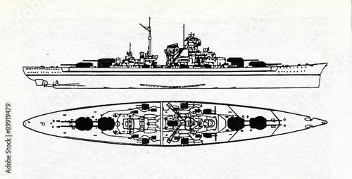 Photographie German battleship Tirpitz