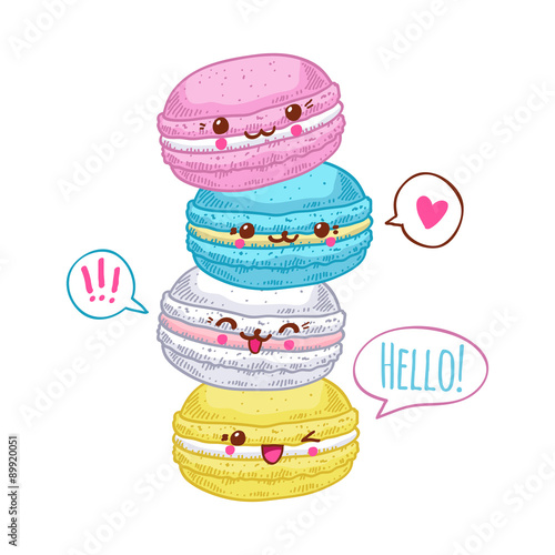 Photo  Group of four cute kawaii macarons.