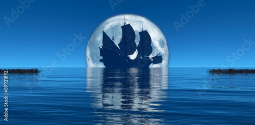 Poster Navire moon and sailing ship