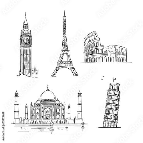 Hand drawn world landmark set.