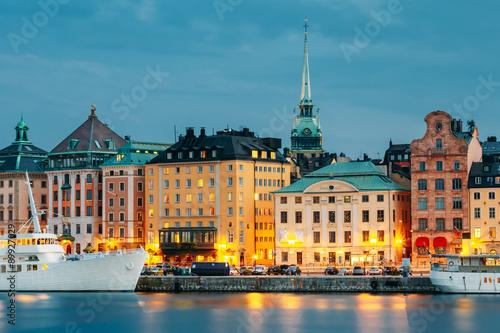 Embankment In Stockholm At Summer Day, Sweden Canvas