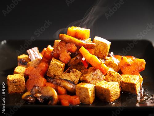 Thai tofu with carrots and mushrooms Canvas Print