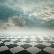 Chequered Floor Landscape With Cloudy Sky
