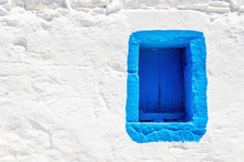 Blue Wooden Window On White Stone Wall, Greece