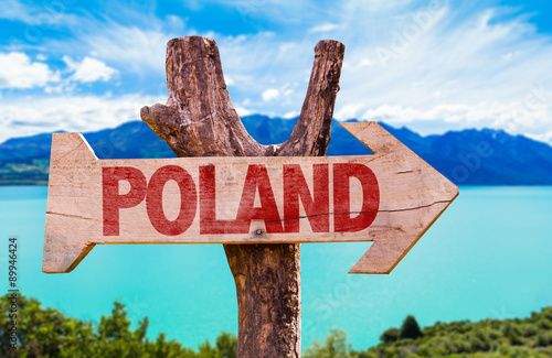 Spoed Foto op Canvas Turkoois Poland wooden sign with lake background