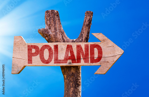 Poland wooden sign with sky background