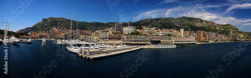 panoramic Cityscape and harbor of Monte Carlo. Principality of M