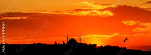 Istanbul silhouette on sunset. Turkey