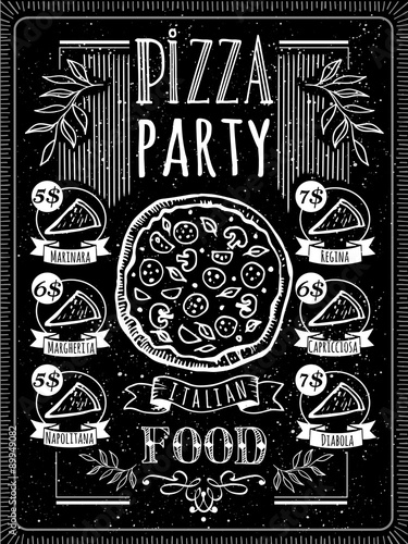 Vector illustration with pizza menu. - 89949082