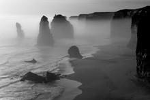Foggy Landscape Of Twelve Apostles , Great Ocean Road, Australia