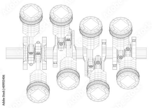 V8 Engine Pistons