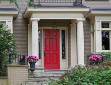 Red Front Door With Portico, Porch