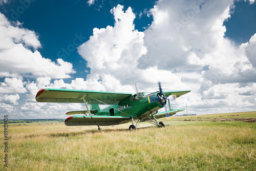 Fototapeta old airplane on green grass