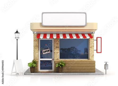 Fotografía  Concept of shop. Store with copy space board.