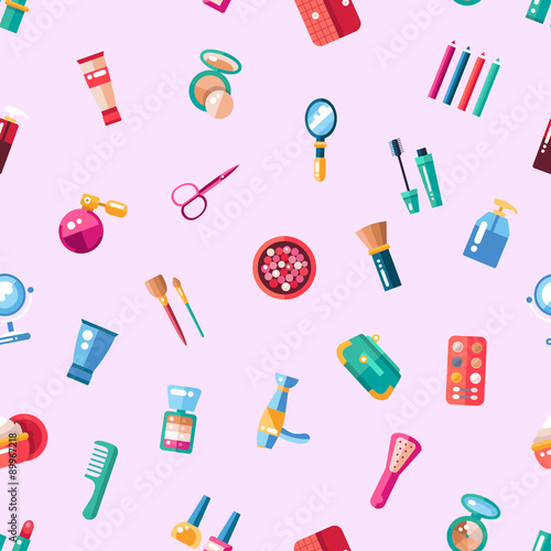 Cotton fabric Pattern of flat design cosmetics, make up icons and elements